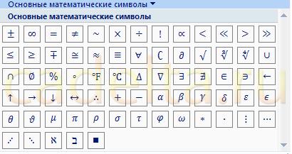 Рис.4 Основные математические символы