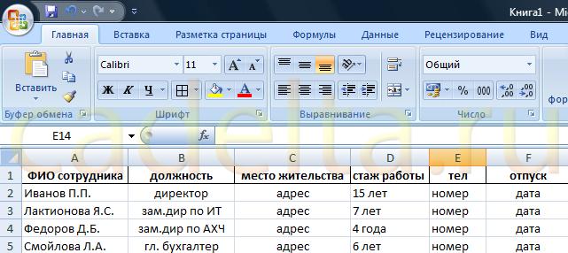 Рис.1 Пример таблицы