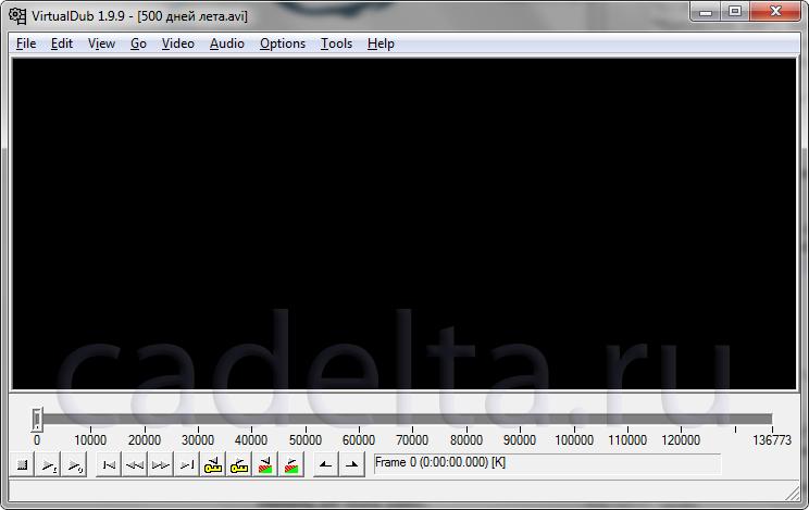 Рис. 2. Программа с загруженным видеофайлом.Рис. 2. Программа с загруженным видеофайлом.