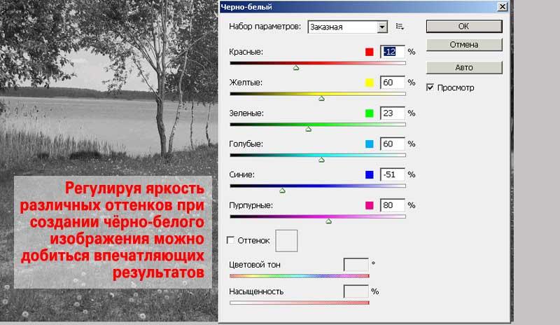 Настройки перевода цветного фото в чёрно-белое
